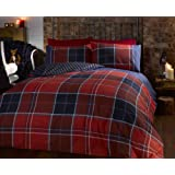 Argo Double Bed Size Red Burgundy Blue White Classic Checked Tartan Stripe Reversible Duvet Cover Quilt Bedding Set Hallways ®