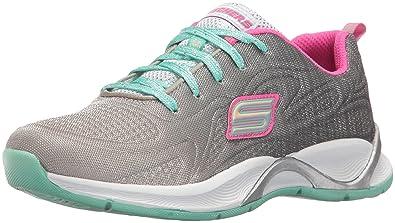 Kids Girls Hi Glitz-Flutterspark Sneaker,Gray/Aqua/Pink Skechers
