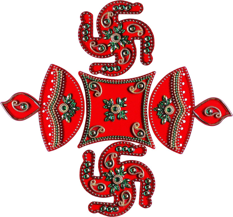 Diwali Acylic Swastik and Diya Design Rangoli Floor Decorations Acrylic Red Color Rangoli with Studded Stones and Sequins, Traditional Festive Home Décor