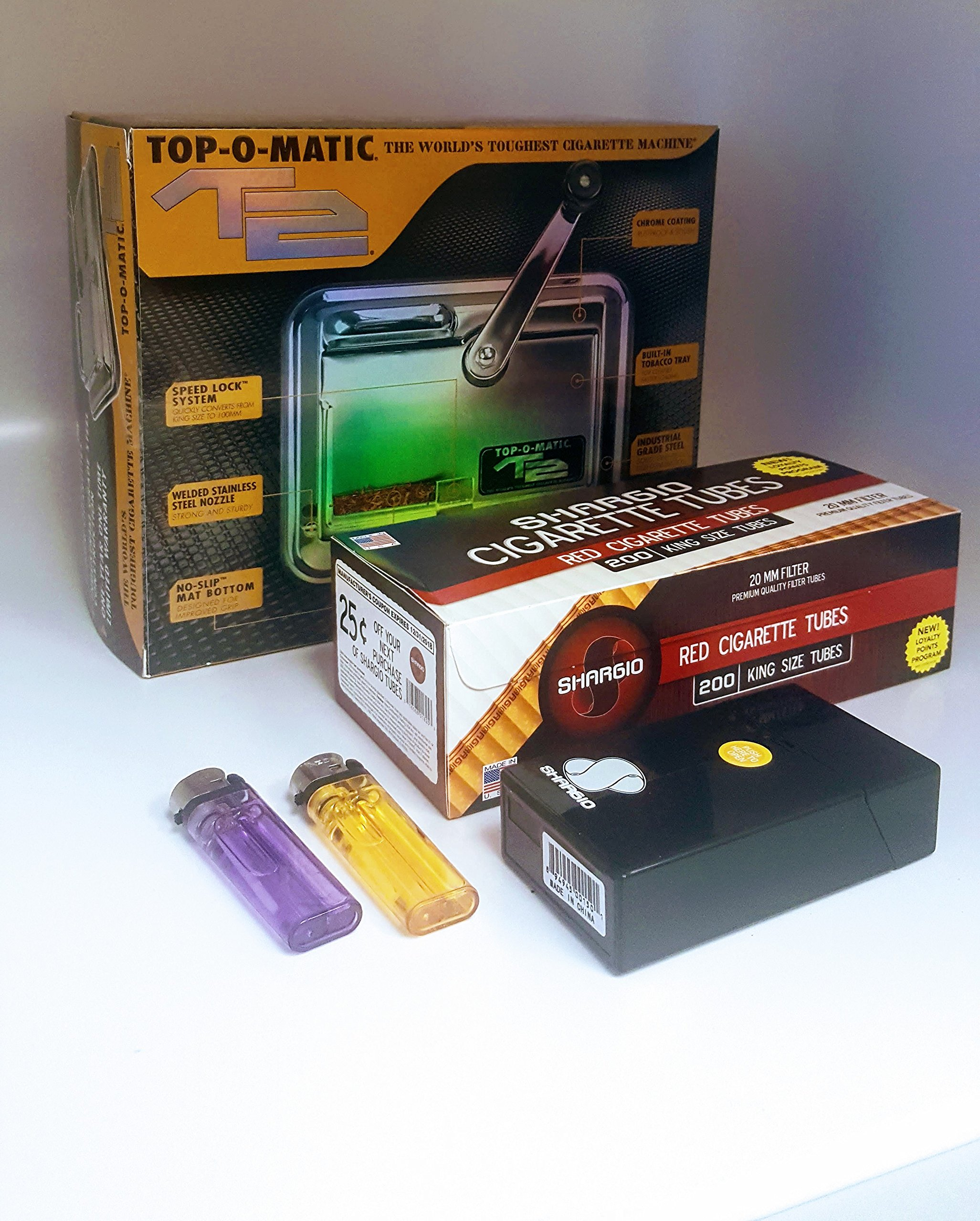 T2 Top-O-Matic Cigarette Rolling Machine+ FREE Shargio tubes, Case & lighters by TOP