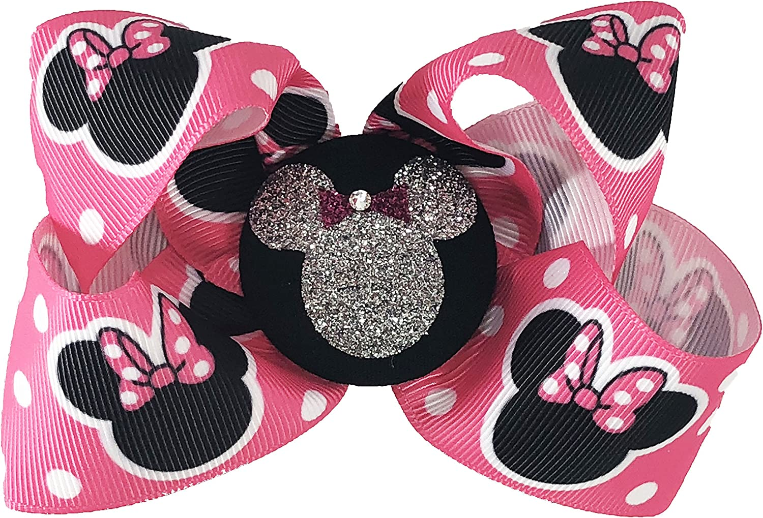 """Girls Hair Bow 4/"""" Wide Minnie Mouse Pink Hearts Black Ribbon Alligator Clip"""