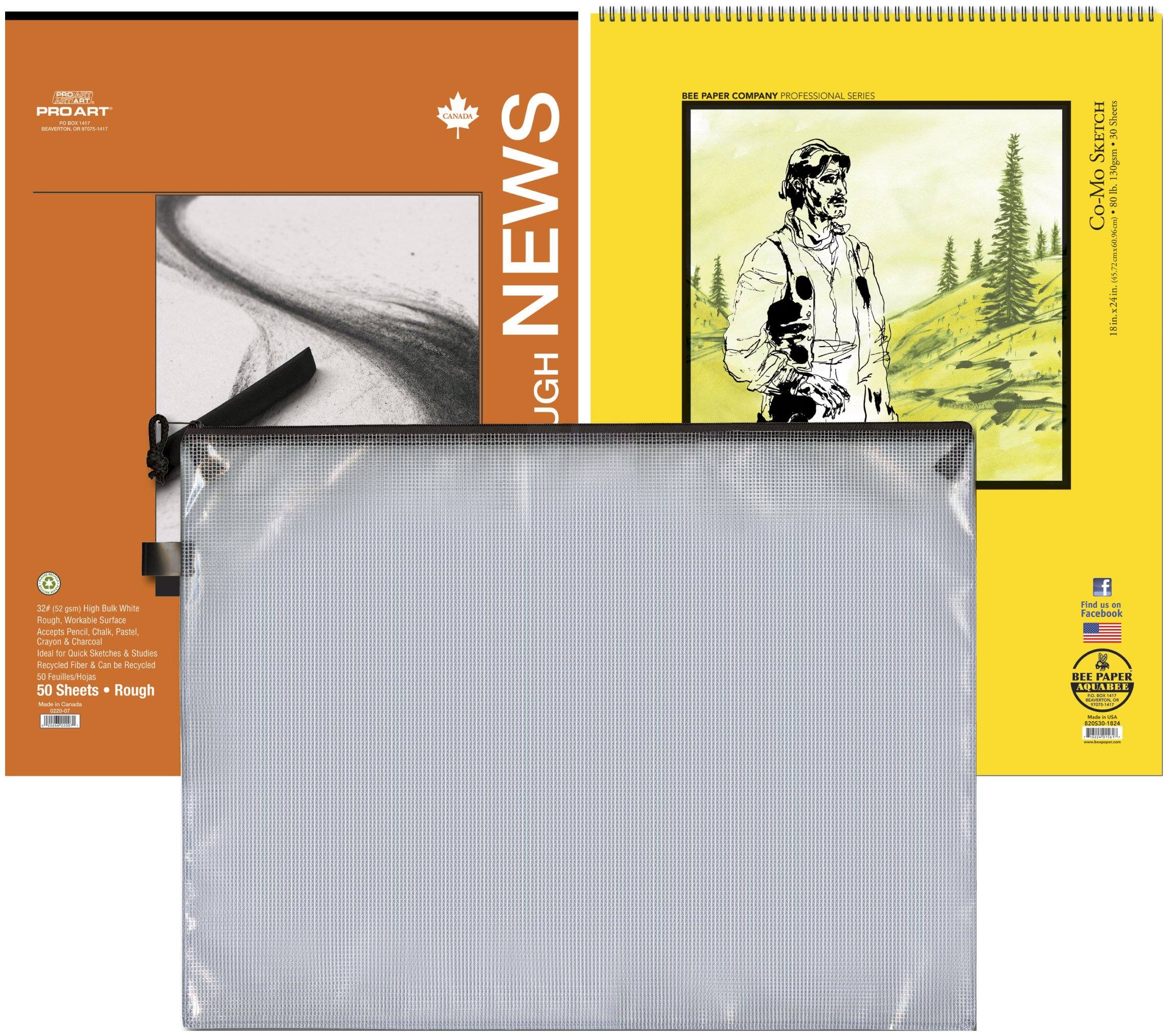 Pro Art Mesh Bag 18-Inch by 24-Inch Como and Newsprint Pad Value Pack