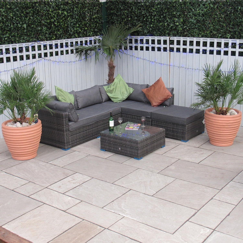 Ecke Rattan Sofa-Set in grau Savanne – alle Wetter modernes oder ...