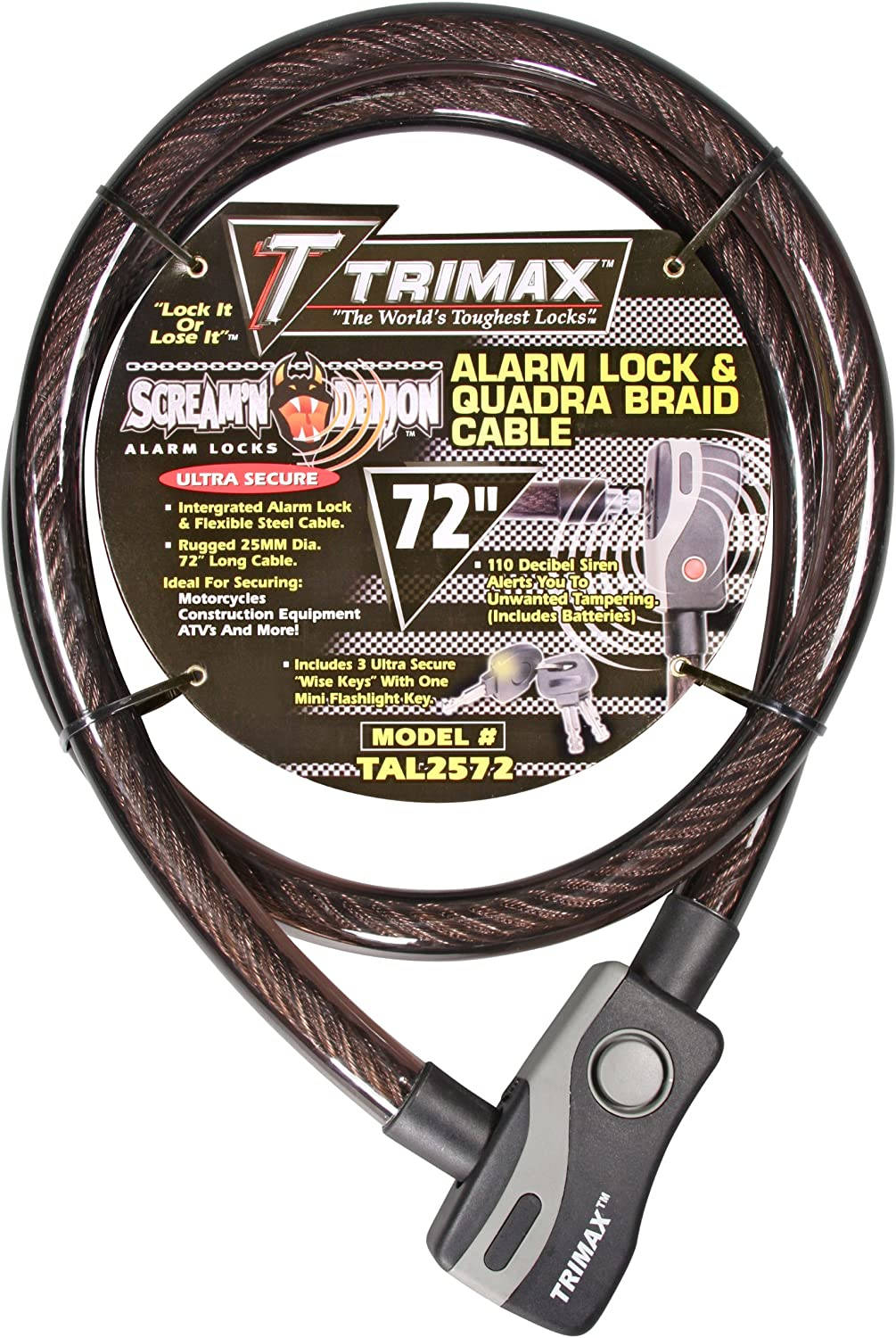 Trimax Trimaflex Coiled Led Comb Lock with Quick Release Bracket 6 L X 12Mm TRL126 Card Packaging