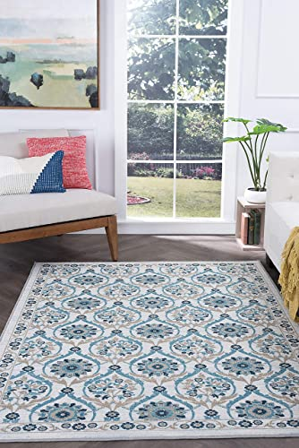 Tayse Robina Cream 8×10 Rectangle Area Rug for Living, Bedroom, or Dining Room – Transitional, Floral