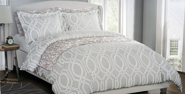 Light blue and white bedding 3 piece lattice trellis comforter set - Envogue Bedding 3 Piece Full Queen Duvet Cover Set Geometric White Lines Moroccan Lattice Trellis