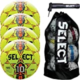 Select Numero 10 Soccer Ball with Duffle Ball Bag and Soccer Ball Hand Pump(Pack of 4), Yellow, Size 5