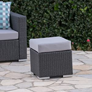 """Christopher Knight Home Santa Rosa Outdoor 16"""" Wicker Ottoman Seat with Water Resistant Cushion, Grey / Silver"""