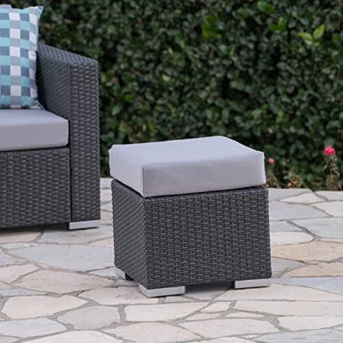 Festival Depot Dining Outdoor Patio Bistro Furniture Ottoman Footstool with Slatted Steel Frame Legs with Embed Premium Fabric Soft Comfortable 4.3 Cushion Foot Rest for Garden Yard All-Weather