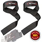 Lifting Straps By Rip Toned (PAIR) - Normal or Small Wrists - Bonus Ebook - Cotton Padded - Weightlifting, Xfit, Bodybuilding, Strength Training, Powerlifting