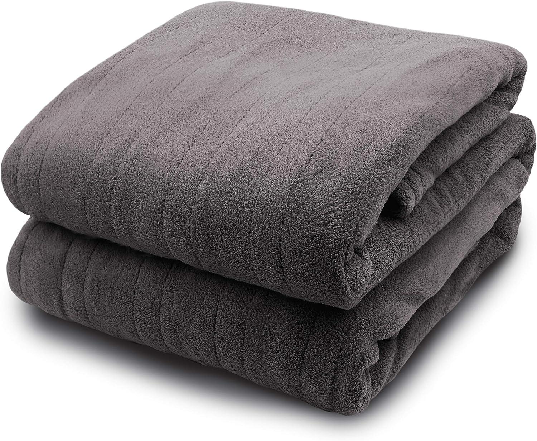 Biddeford Blankets Micro Plush Electric Heated Blanket with Digital Controller, Full, Grey