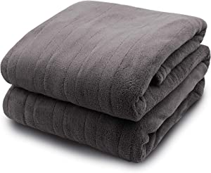 Biddeford Blankets Micro Plush Electric Heated Blanket with Digital Controller, Full, Grey