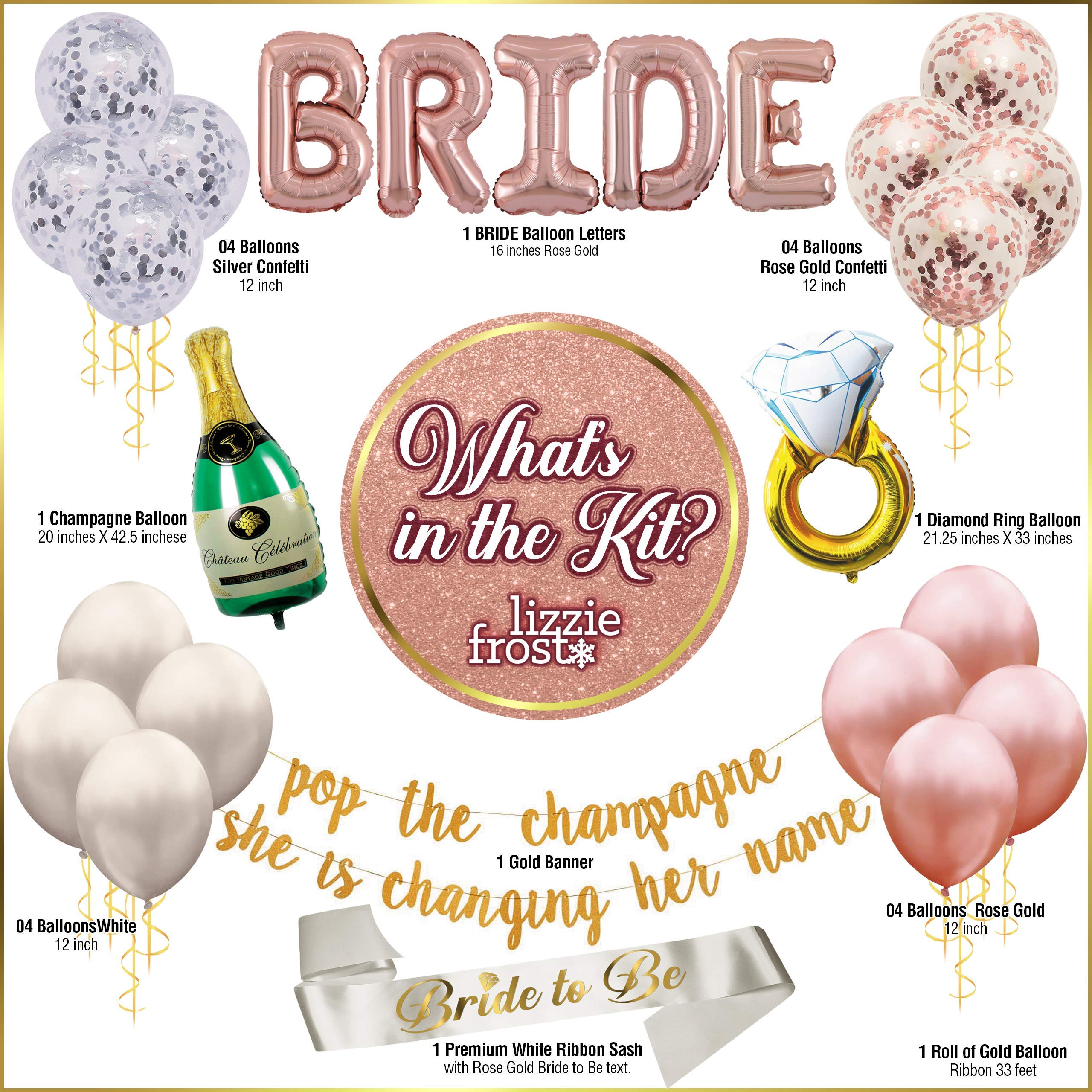 Bachelorette Party Decorations - Bridal Shower Supply Kit - Classy Bridal Bundle with Banner, Balloons, Gold Ribbon and Sash - Rose Gold Bride Party Décor - 22 pcs Bachelorette Kit