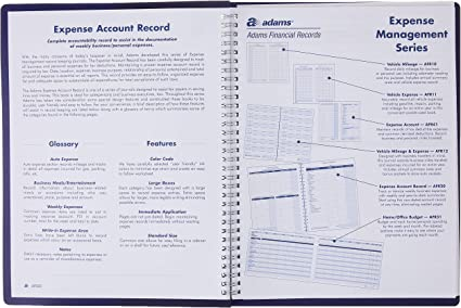 8.5 x 11 Inches Adams Expense Account Record Book Spiral Binding AFR20 Clear