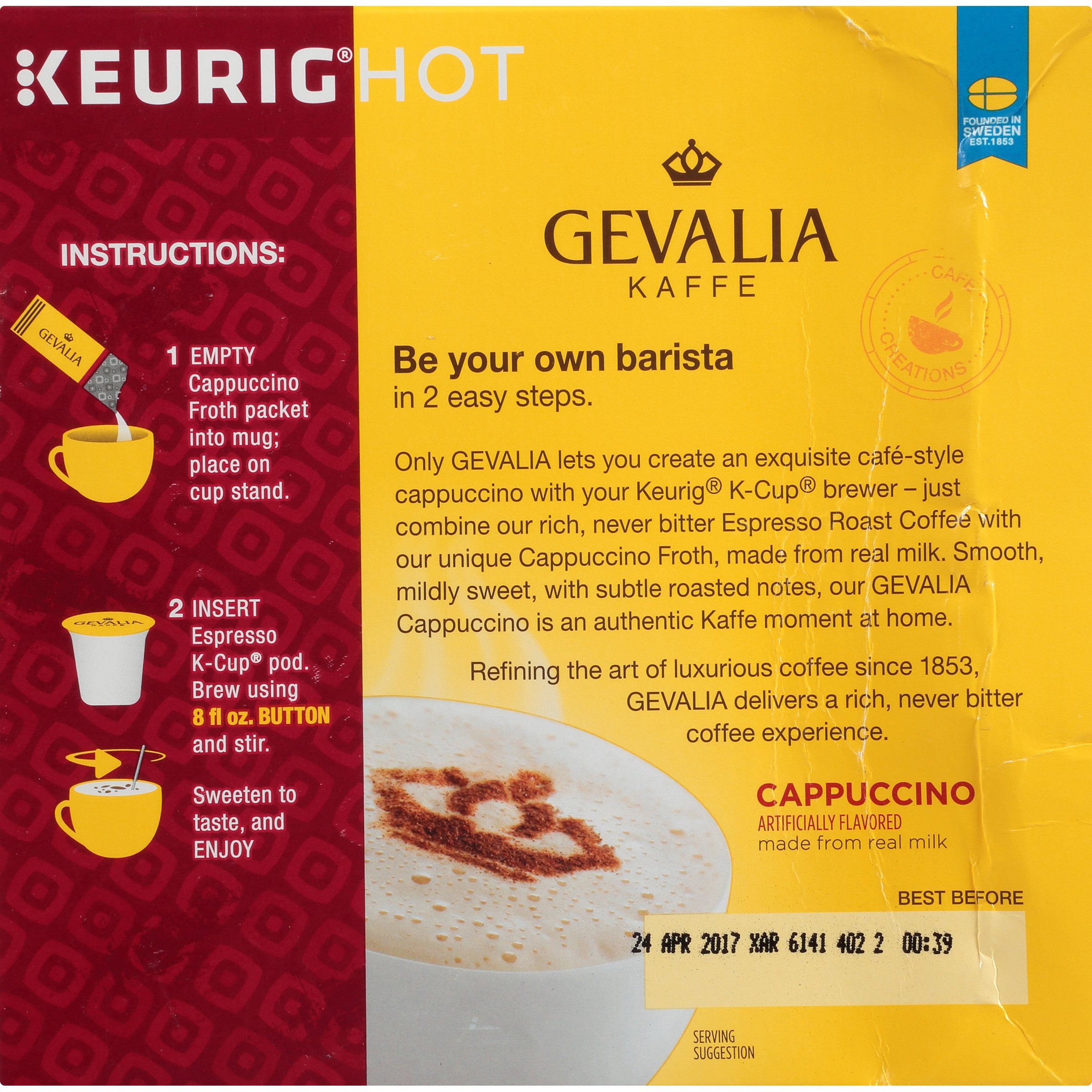 Gevalia Cappuccino K-Cup Pods and Froth Packets, 36 Count (4 Packs of 9) by Gevalia (Image #4)