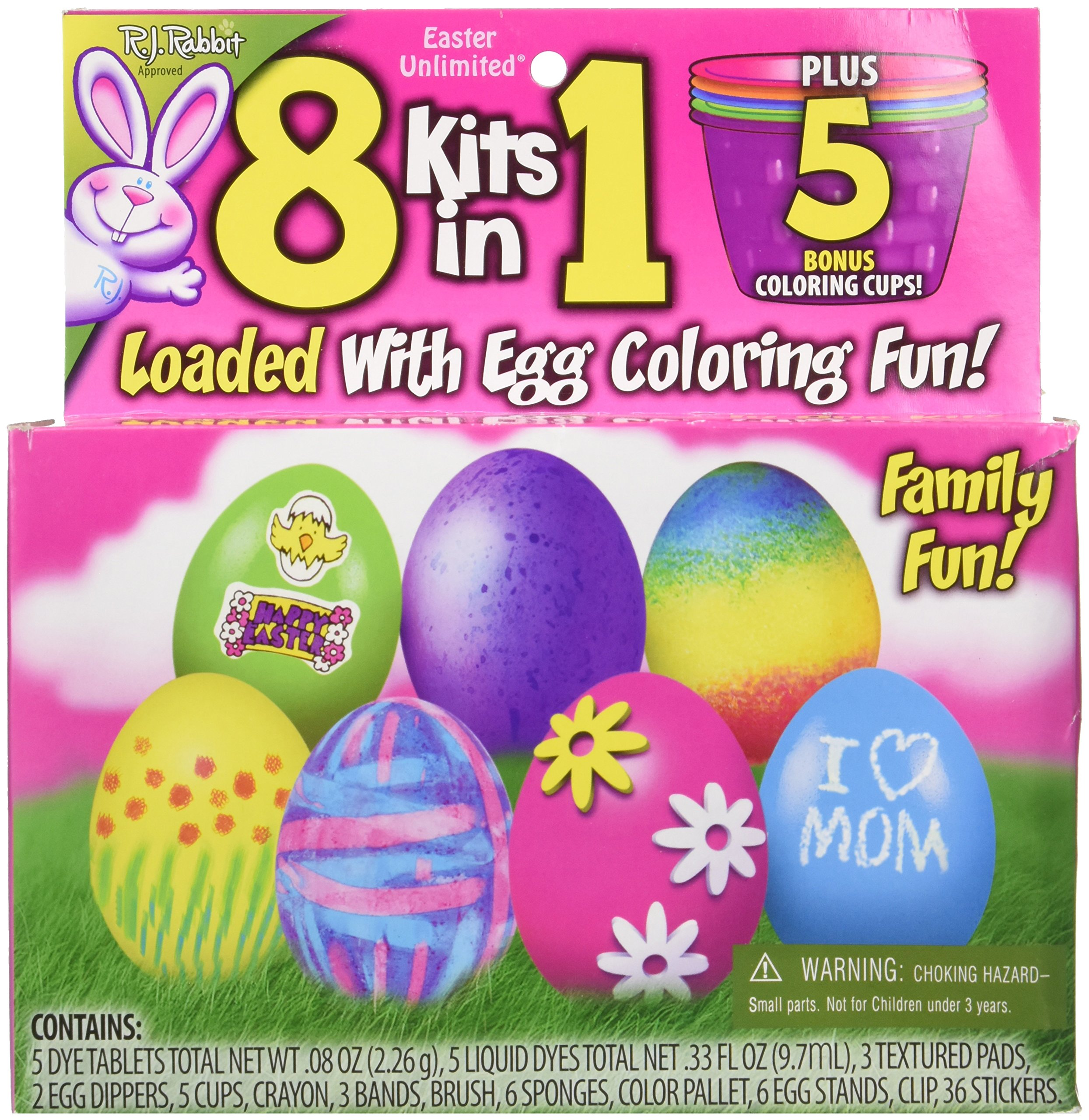 8 Kits in 1 Easy-to-do Egg Decorating Family Friendly Kit