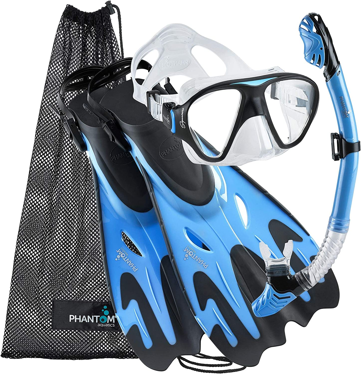 Phantom Aquatics Italian Collection Legendary Panoramic View Mask Fin Dry Snorkel Set with Deluxe Snorkeling Gear Bag… : Sports & Outdoors