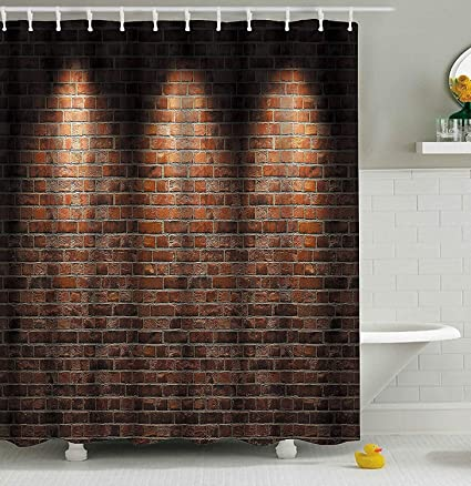 Amazon Anclle Shower Curtain 3D Vivid Red Brick