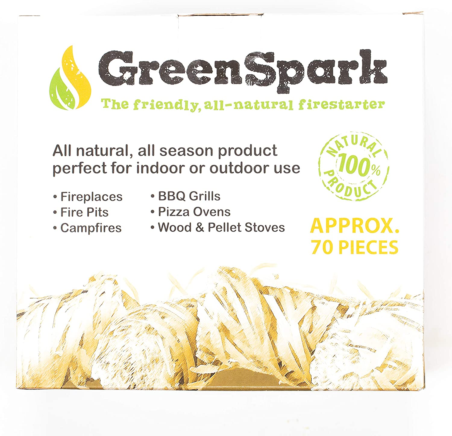 8-10 Min Super Fast Lighting GreenSpark Burn 100/% All-Natural Indoor//Outdoor Campfire 70 Count Wood /& Pellet Stove Fireplace BBQ Grill All-Weather Friendly Fire Starter Bundles Fire Pit