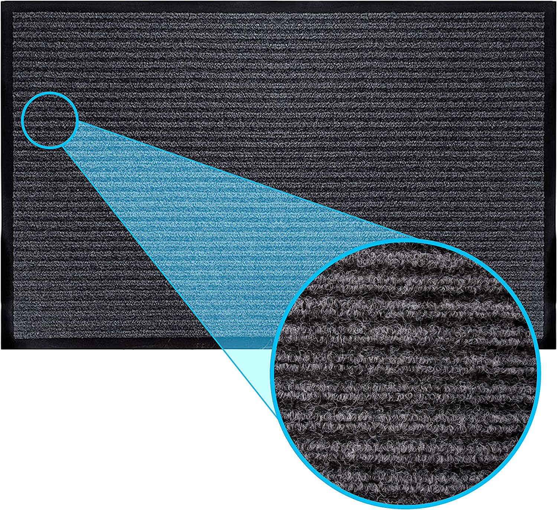 LuxUrux Durable Rubber Door Mat, Heavy Duty Doormat, Indoor Outdoor, Easy Clean, Waterproof, Low-Profile Mats for Entry, Patio, Garage, High Traffic Entrance Ways (16''x 24'', Gray Ribmat)