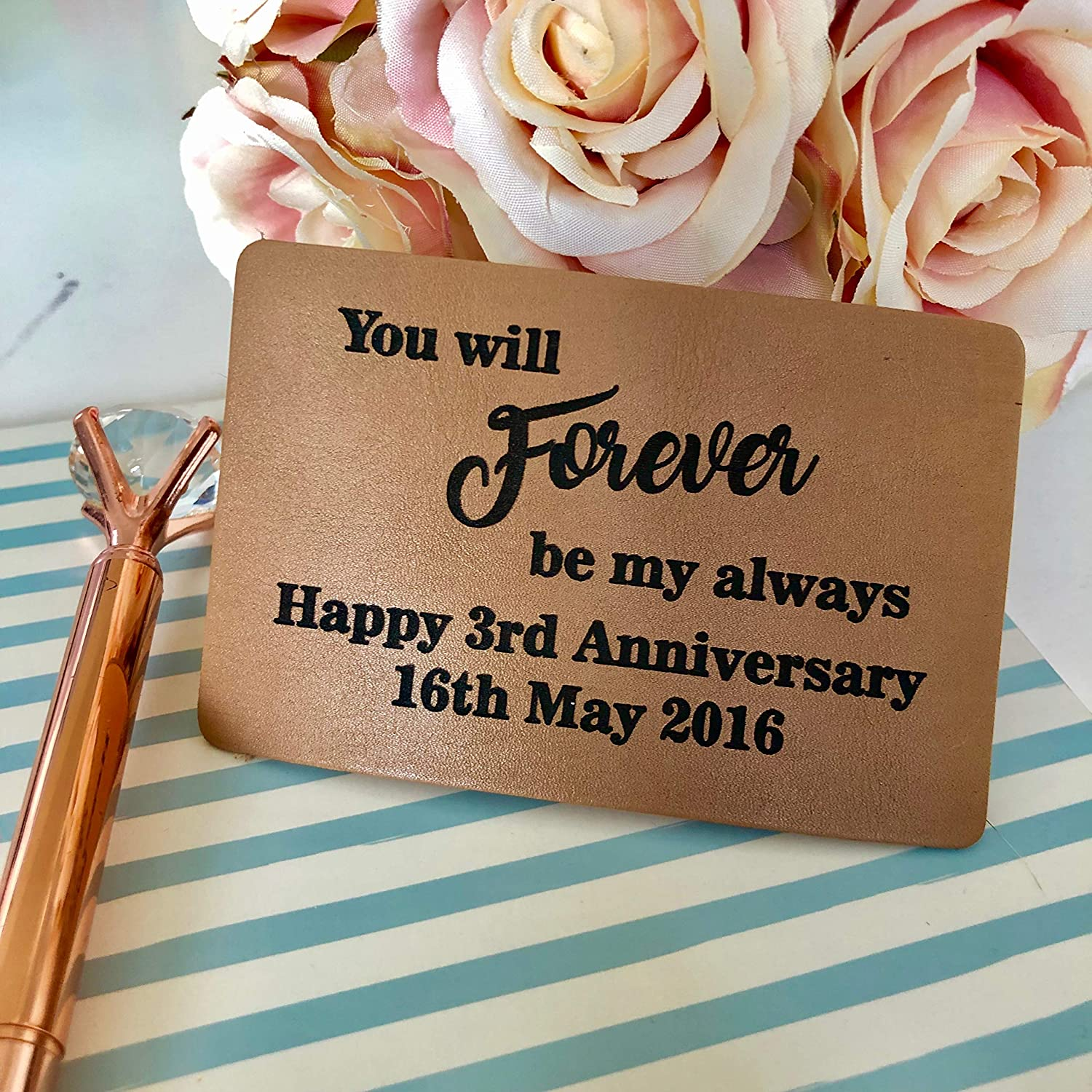 3rd Leather Anniversary Wedding Gift B Personalised Leather Wallet Card Insert