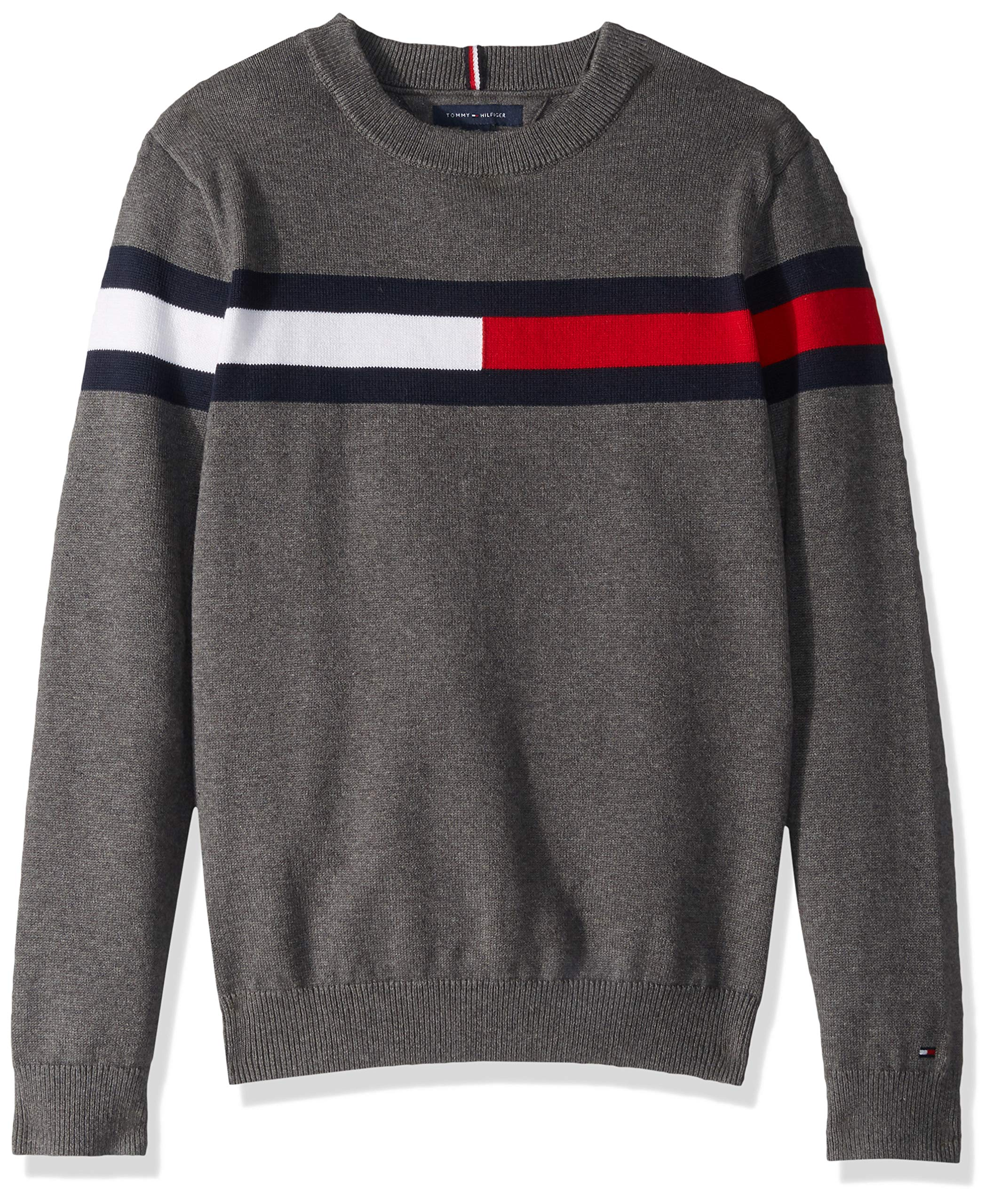 Tommy Hilfiger Boys' Adaptive Sweater with Hook and Loop Fastener at Shoulders, medium grey hear S