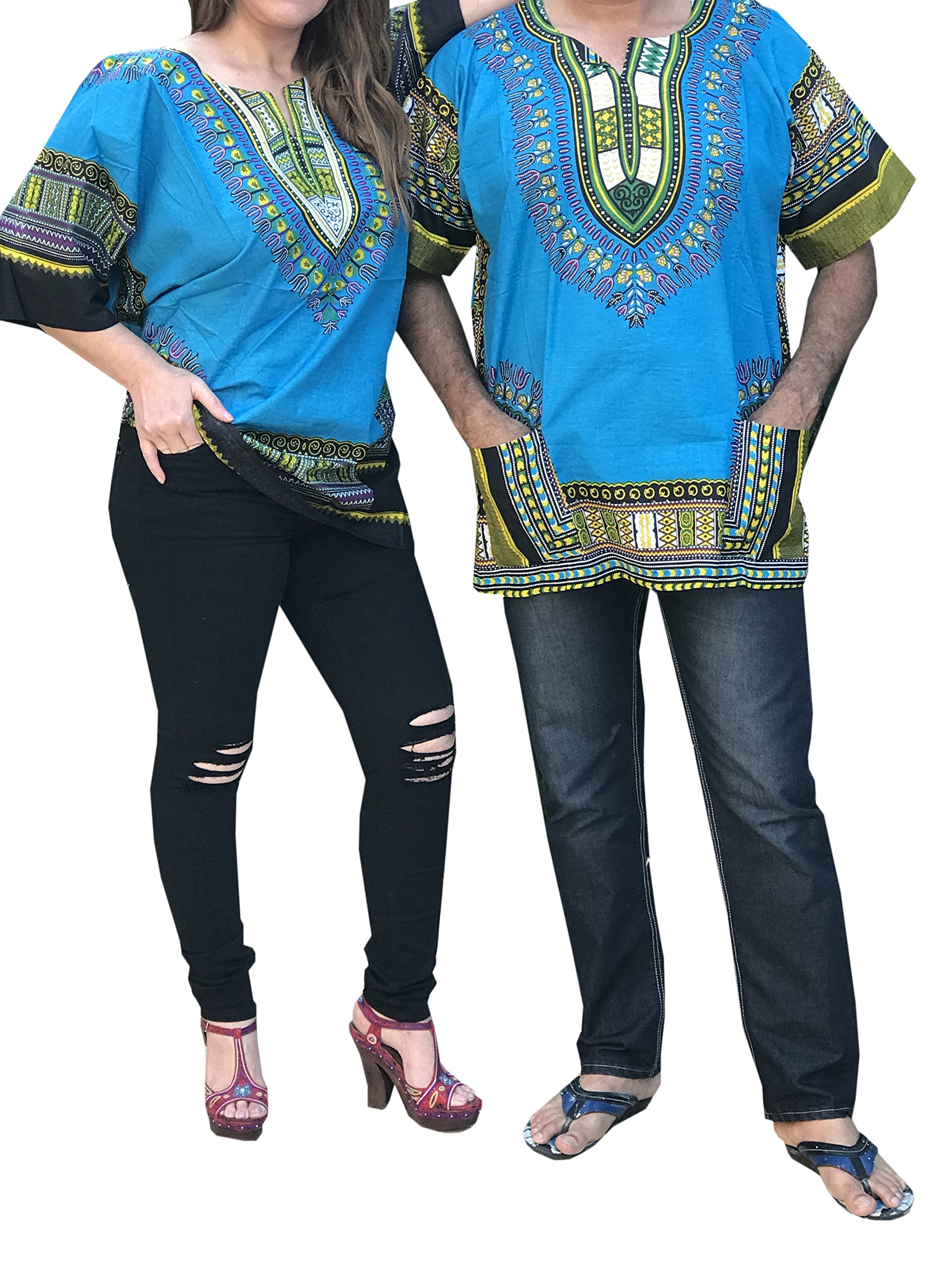 Dashiki Men Women Shirt African Hippie Vintage Top Tribal Blouse Caftan One Size (Turquoise/Blue)