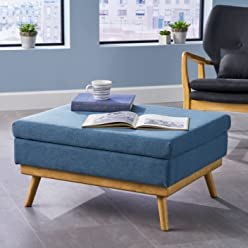 Great Deal Furniture | Beryl | Mid Century Fabric Ottoman | in Blue
