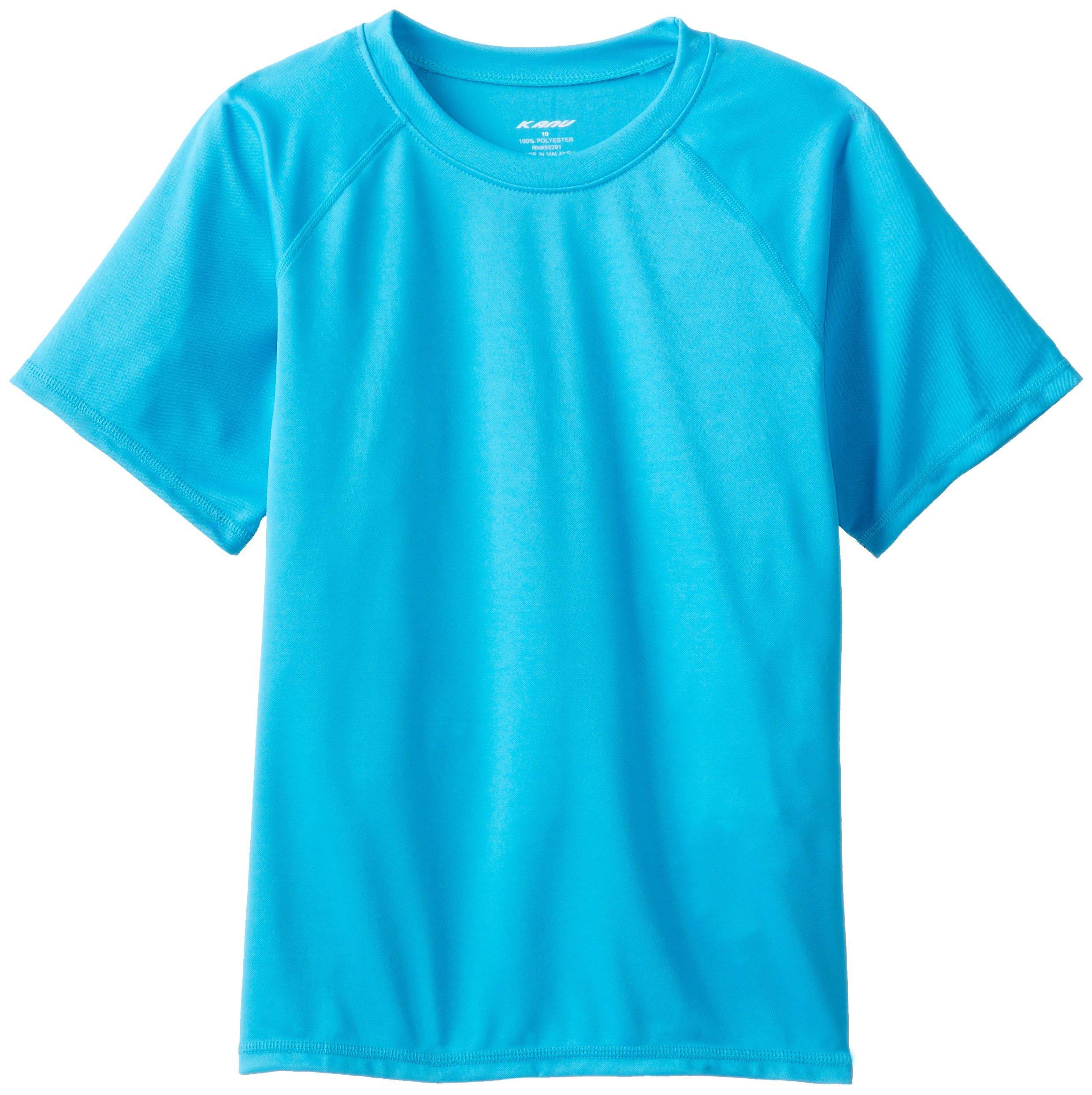 Kanu Surf Big Boys' Solid Swim Shirt, Aqua, Medium (10) by Kanu Surf