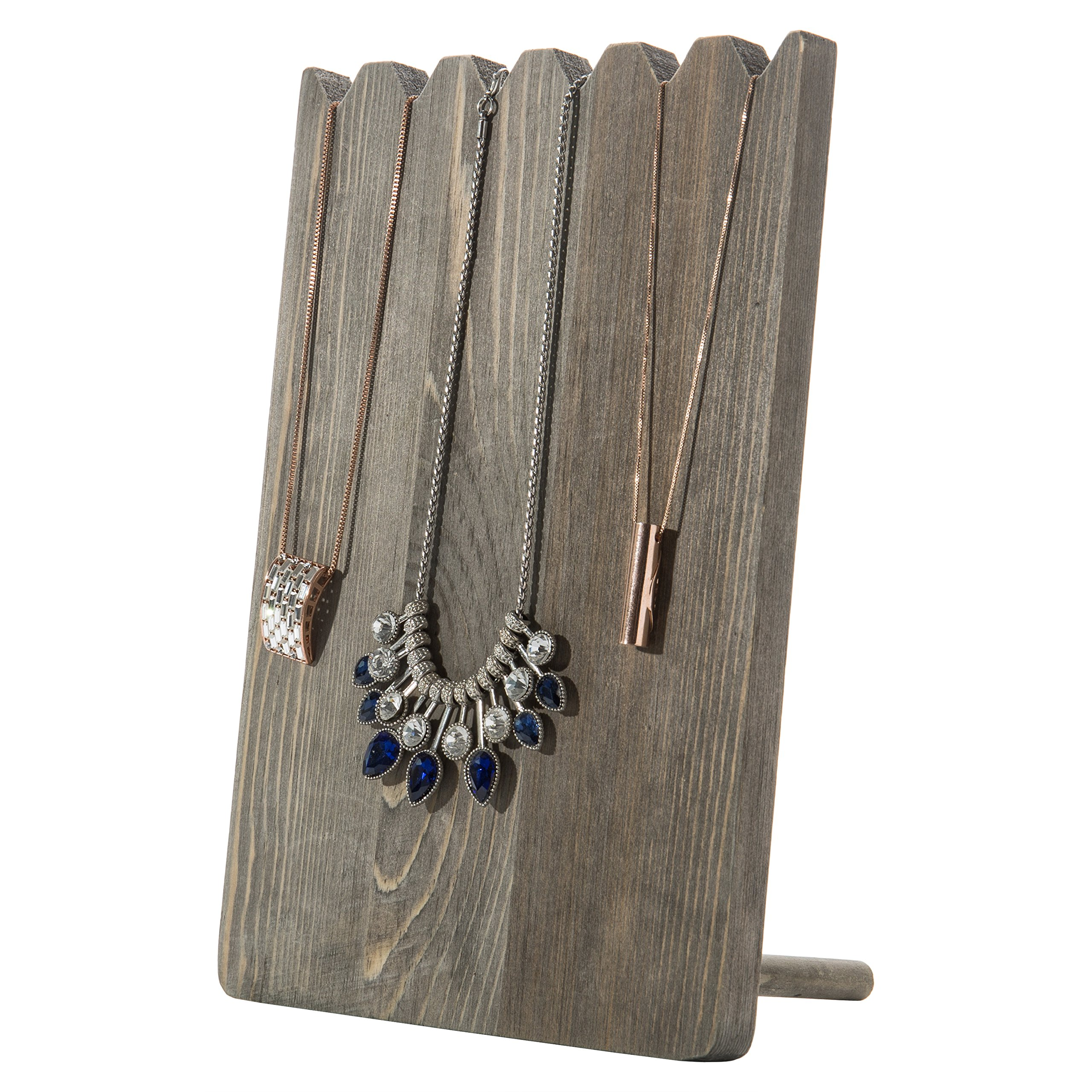 MyGift Barnwood Gray Adjustable-Length Necklace Holder, Jewelry Display Stand