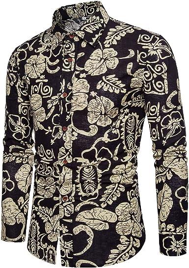 Star-bw Camisa Hombre de Lino Manga Larga Hawaiana Fiesta Juvenil gant: Amazon.es: Ropa y accesorios