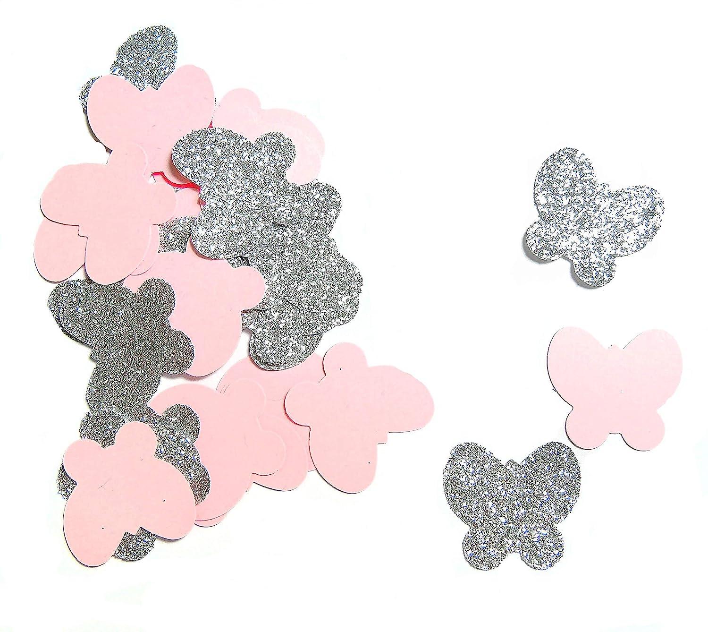 Konfetti Schmetterling Rosa glitzerndes Silber weiß (handgemacht Konfetti)