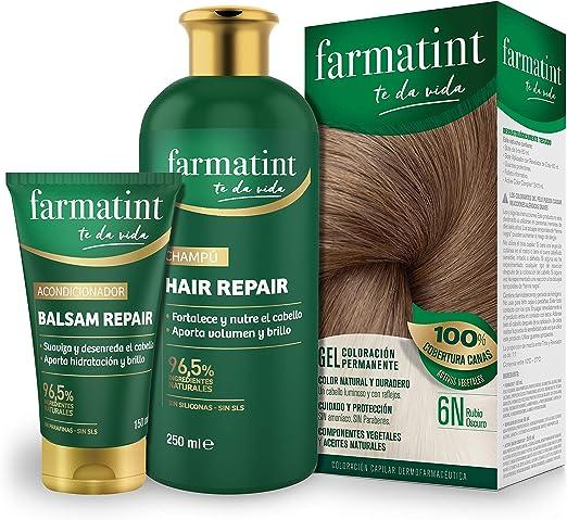 Pack Farmatint - Tinte 6N Rubio Oscuro + Acondicionador reparador + Champú 96,5% ingredientes naturales - Color natural y duradero - Componentes ...