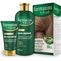 Pack Farmatint - Tinte 6N Rubio Oscuro + Acondicionador reparador + Champú 96,5% ingredientes naturales - Color natural…
