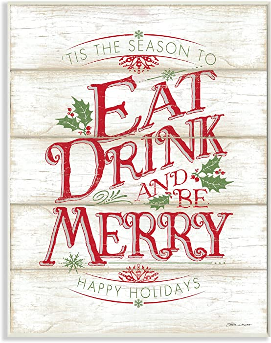 Stupell Industries Eat Drink and Be Merry Wall Plaque, 10 x 15, Multi-Color