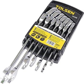 TOLSEN HW85-VCES Estuche de 7 llaves fijas (boca abierta y carraca orientable de herramientas): Amazon.es: Bricolaje y herramientas