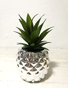 "Pretty Home Artificial Potted Succulent 7.8"" Pineapple (Silver)"