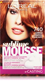 LOreal Paris Sublime Mousse Coloración Permanente, Tono: 740 Cobrizo Ardiente - 200
