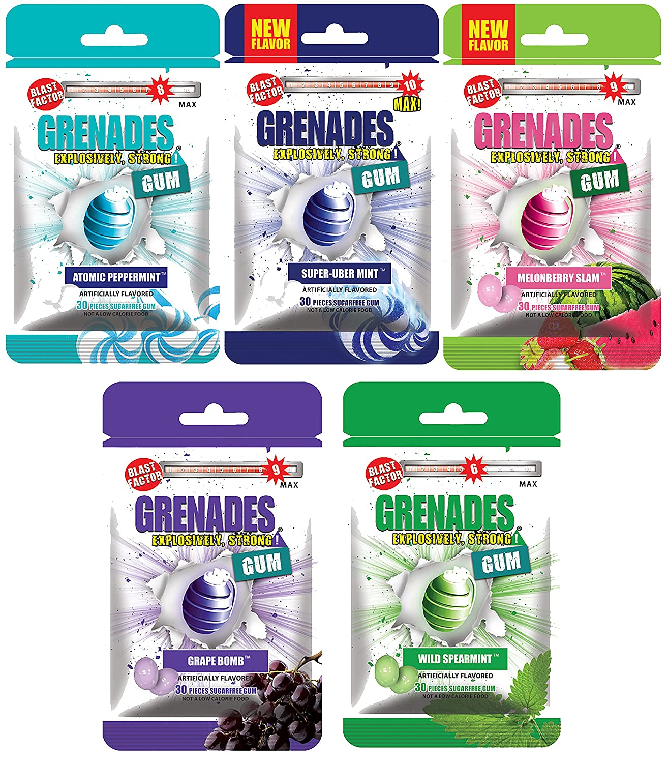 Grenades Explosively Strong Sugar-Free Gum - Intense Minty Blast That'll Blow You Away - Breath Freshening & Long Lasting Flavor - Fruit & Mint Variety Pack of 5 (150 Pieces)