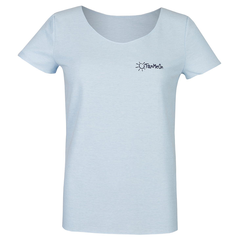 Camiseta de bronceado para mujeres de TanMeOn, recibe bronceado bajo la camiseta, corte con cuello redondo, colores: blanco, azul o gris: Amazon.es: ...