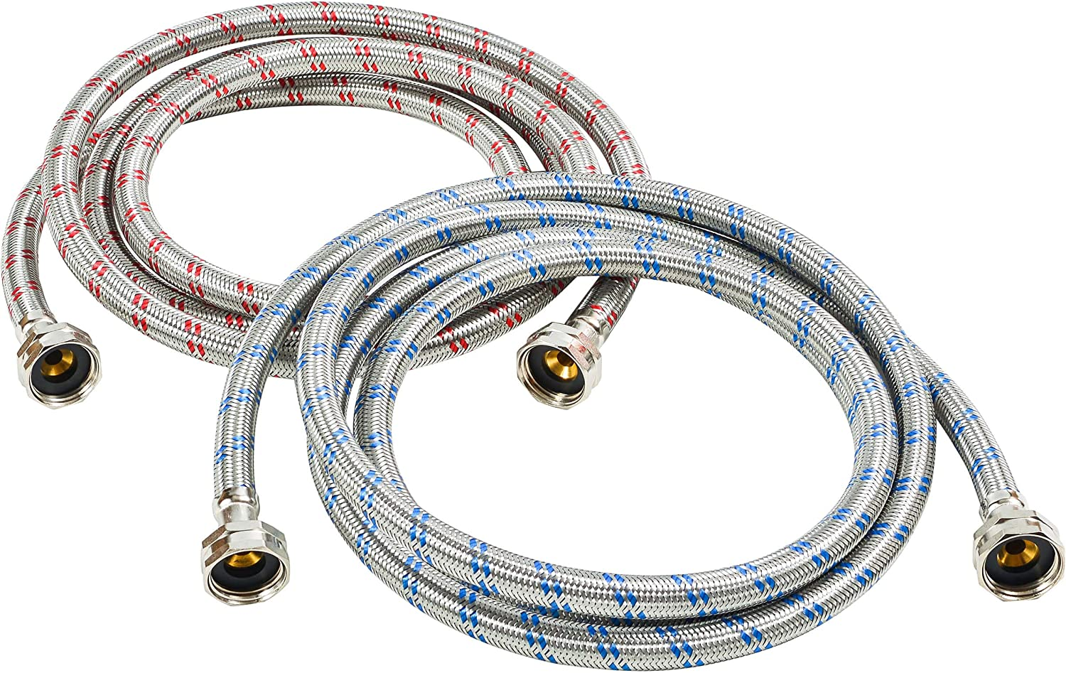 Washing Machine Hoses Stainless Steel Braided Water Supply Line - Burst Proof 2 Pack - Commercial Grade Metric Fittings + Wrench for Easy Installation (6ft)
