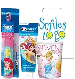 Disney Princess Sprakling Smile Oral Hygiene Gift Set! Includes Turbo Powered Toothbrush, Toothpaste &