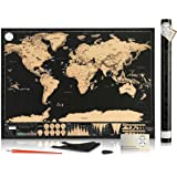 """Scratch Off Map of the World for Travelers - Elegant Gold Foil on Black Travel Tracker Poster Where You've Been - Deluxe Gift Edition Large 32""""x 23"""" with Tube Included By Be Strongest"""