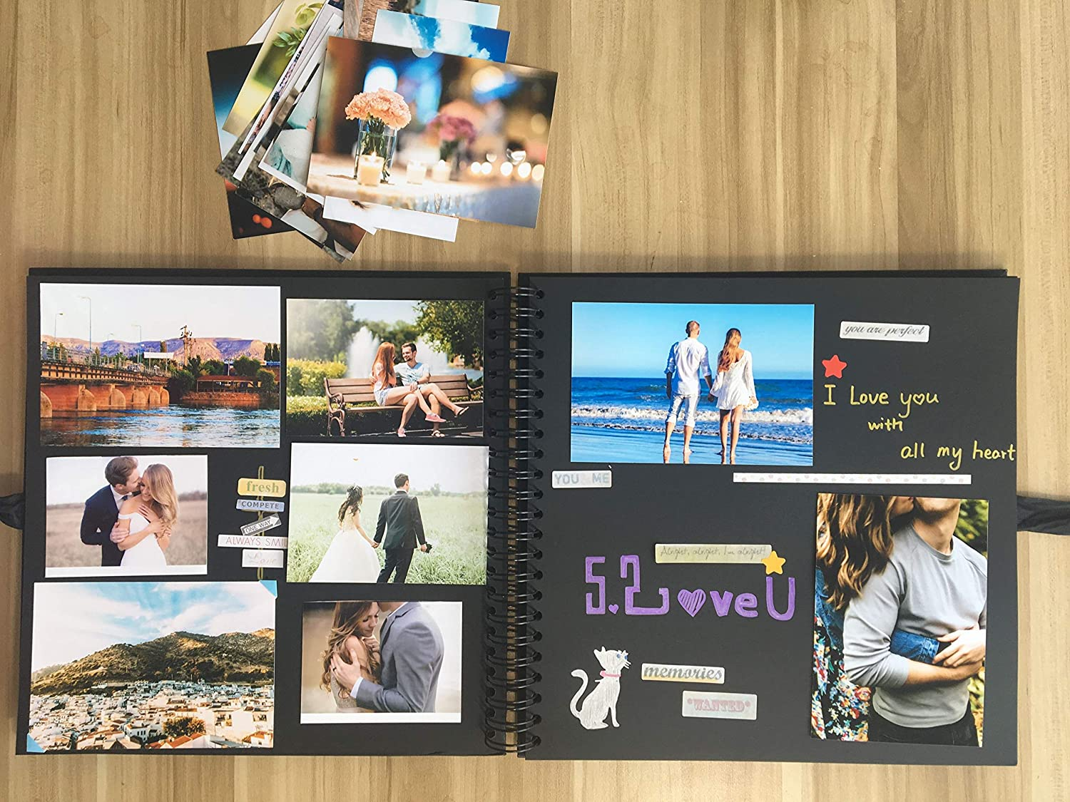 DIY Scrapbook Photo Album with Cover Photo Pocket 80 Pages Silk Ribbon Album Craft Paper Album for Guest Book Anniversary Wedding Valentines Day