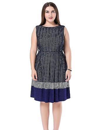 Chicwe Womens Plus Size Chevron Border Print Dress Sleeveless Us12