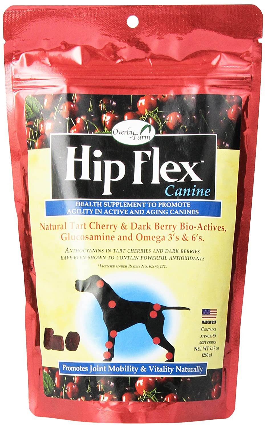 Overby Farm Hip Flex Dog Supplement, The Soft Chewable with a Kick 9.17 Ounce