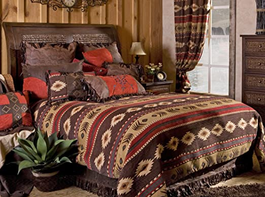 Southwest Comforter Sham Pillow Set 5 Pc Cabin Native Full//Queen Or King Taupe