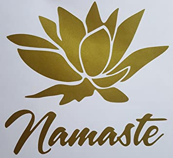 Amazon lotus flower w namaste premium decal 5 gold color lotus flower w namaste premium decal 5quot gold color namaskar lotus blossom mightylinksfo