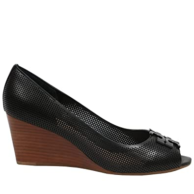 caba730bc6a Tory Burch Lowell 2 65mm Wedge Open Toe Perforated Leather Black Size  5.5  UK