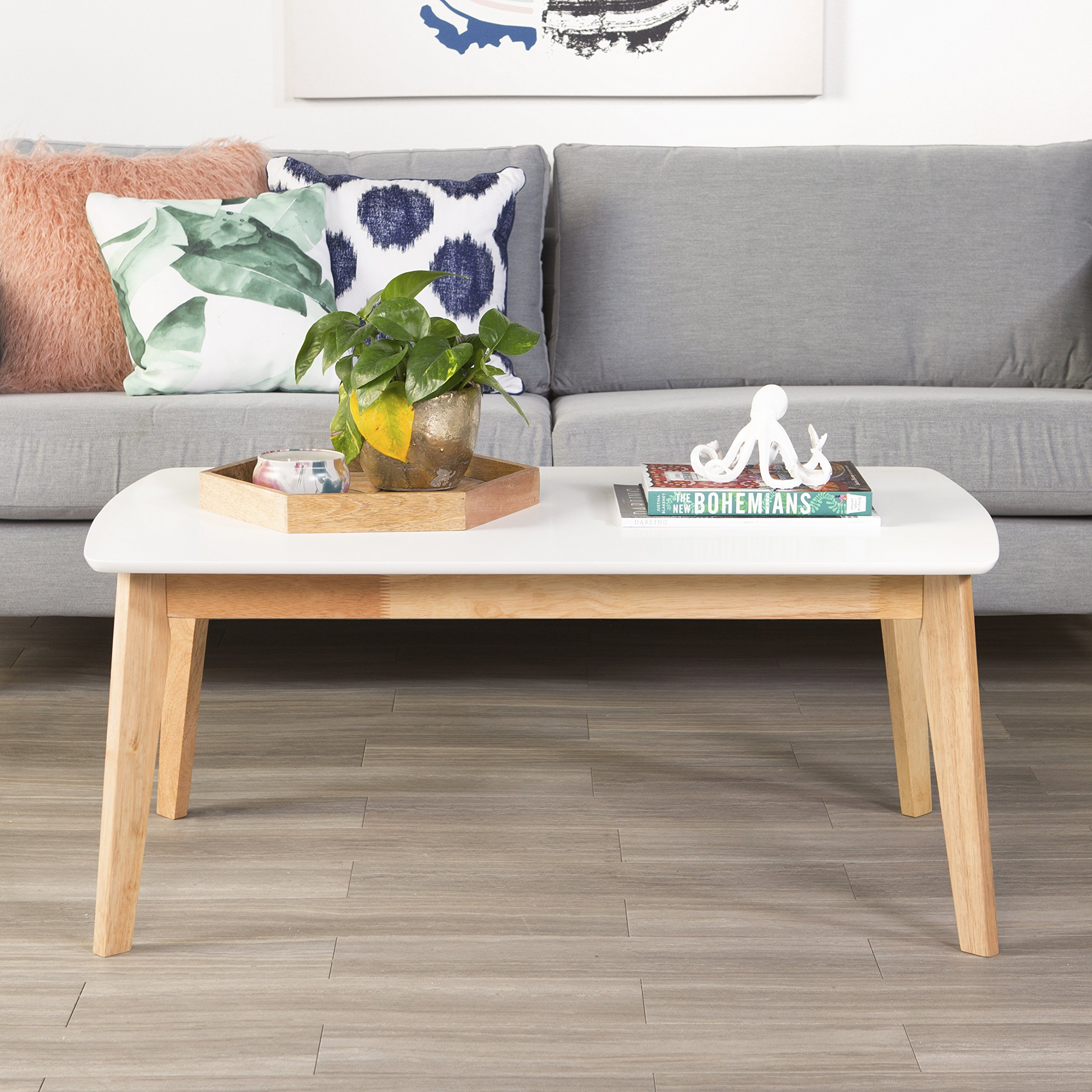 WE Furniture Retro Modern Coffee Table - White/Natural